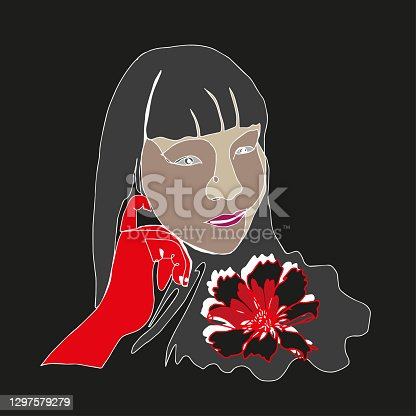 istock Vector self portrait line art of a female wearing red glove with red and black flower, Surreal face of Asian Woman in abstract contemporary collage of freeform shapes in a modern trendy style.Concept for postcard, t-Shirt print 1297579279