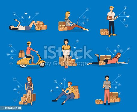 Vector selling online ideas concept small business owner, Men using smart phone and women working laptop computer with  virtual icons network diagram futuristic user interface, postal parcel box