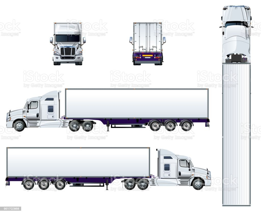 Vector semi truck template isolated on white vector art illustration