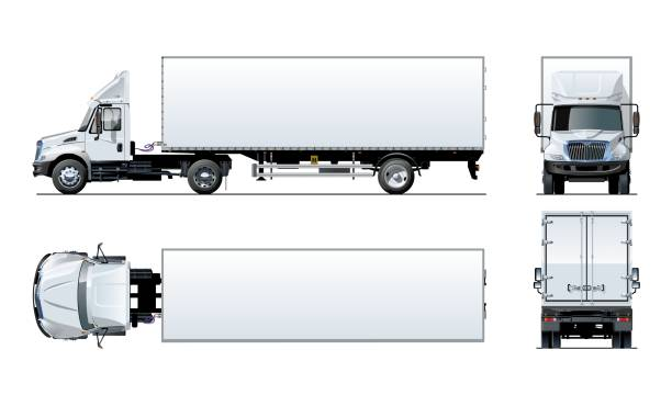 Vector semi truck template isolated on white Vector semi truck template isolated on white. Available EPS-10 separated by groups and layers for easy edit semi truck stock illustrations