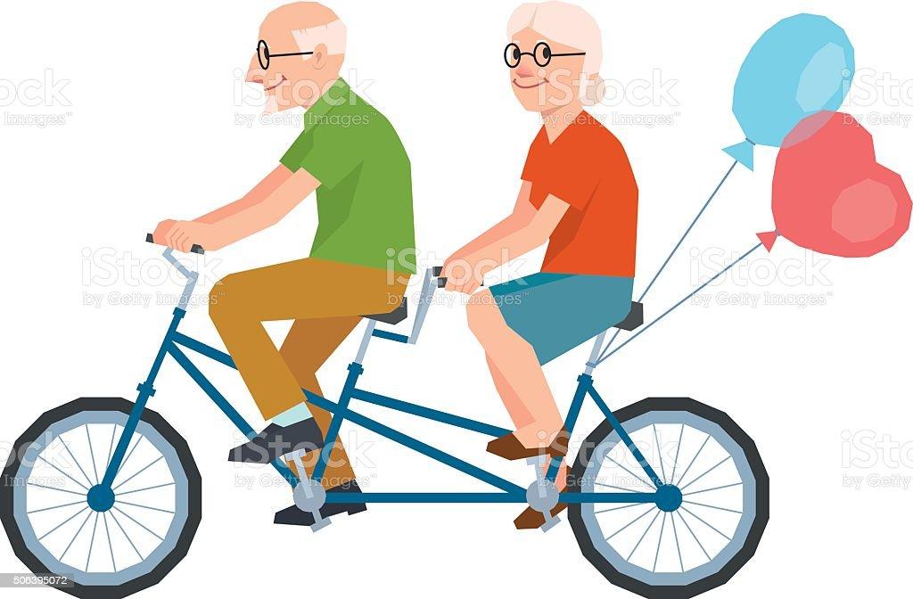 Insieme Vettoriale Di Una Coppia Di Innamorati Senior Una Bicicletta