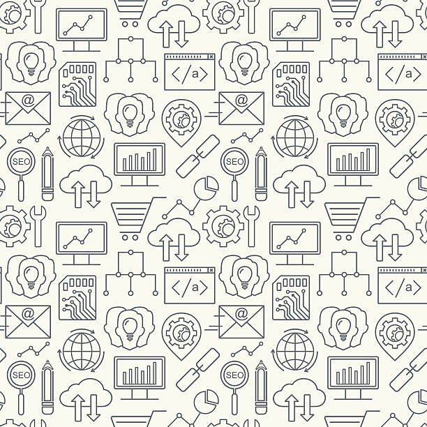 Vektor-SEO und Entwicklung-Symbole, nahtlose Musterung mit konturiertem. – Vektorgrafik
