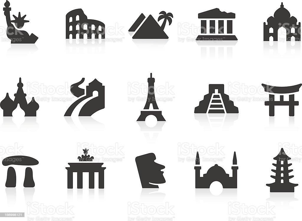 Vector series of landmark icons vector art illustration