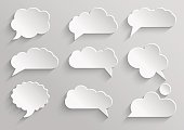 Vector set 1 of paper speech bubbles with shadows