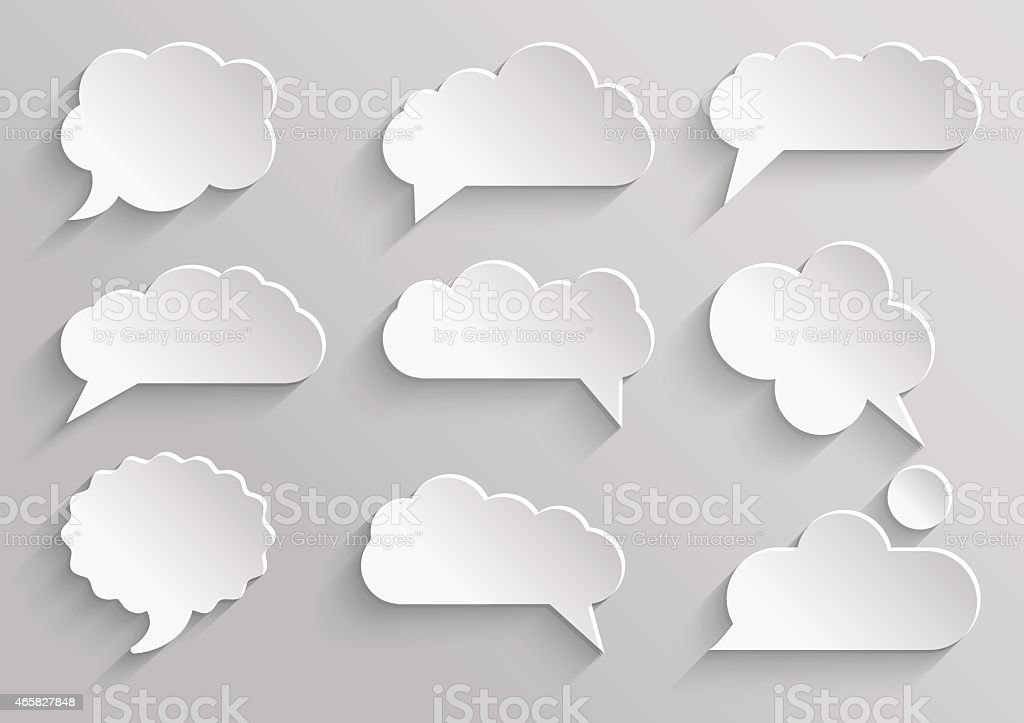 Vector set 1 of paper speech bubbles with shadows vector art illustration