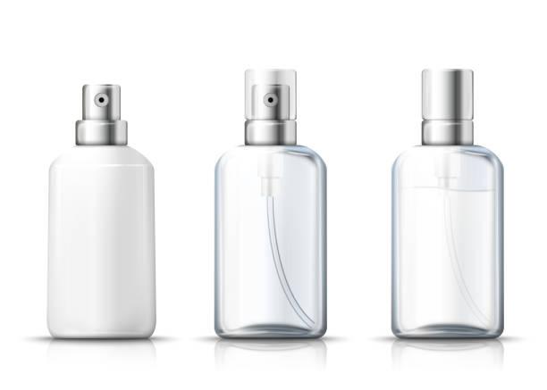 illustrazioni stock, clip art, cartoni animati e icone di tendenza di vector set - 3d realistic spray bottles - profumi spray