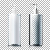 Vector set - 3d realistic transparent pump bottles with silver and plastic caps. Mock-up for product package branding.