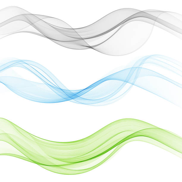 Vector set abstract wave pattern. Blue wave. Green wave. Gray wave. Transparent wave set. Color wave. Smoke wave. Vector set abstract wave pattern. Blue wave. Green wave. Graywave. Transparent wave set. Smoke wave. flowing water stock illustrations