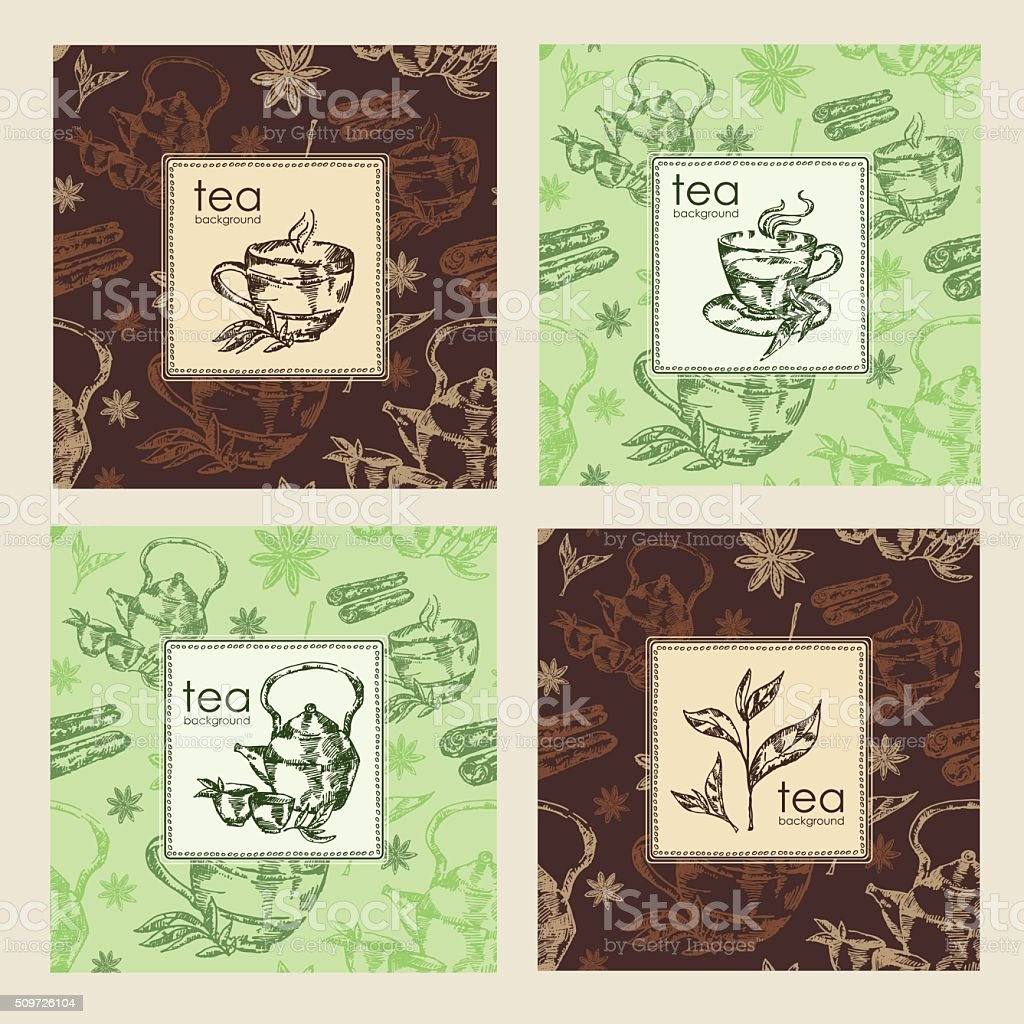 Vector set. backgrounds with tea, hand draw vector art illustration