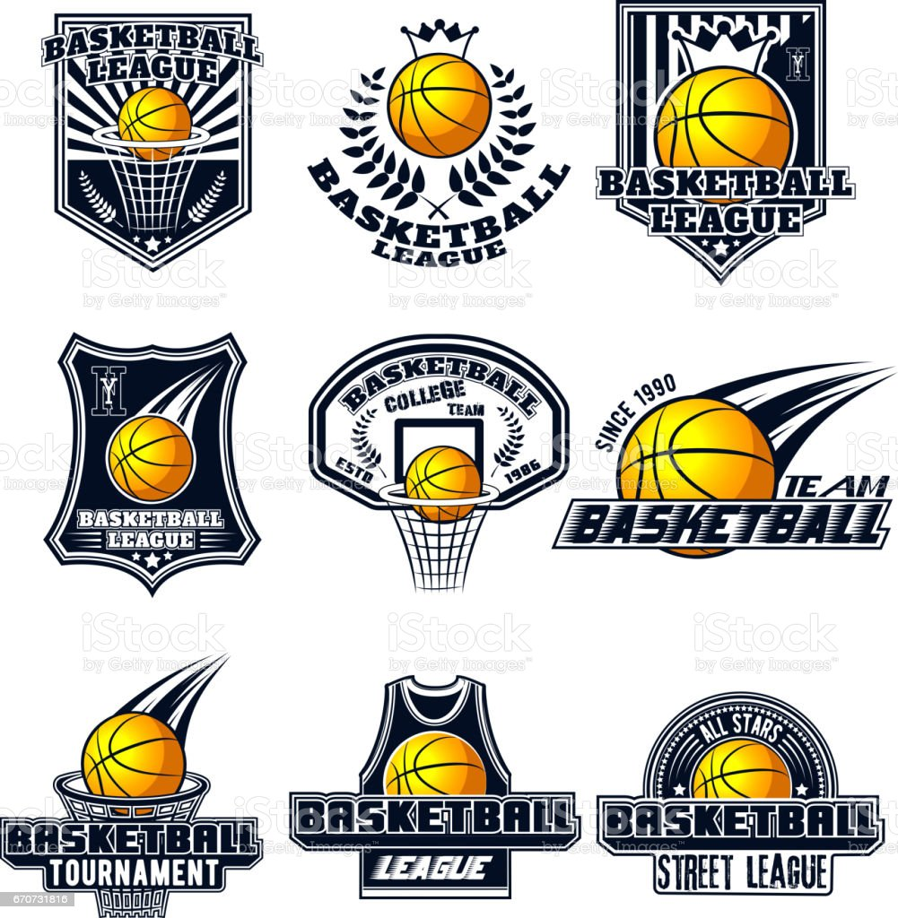 Vector set basketball designs for print, web, design, advertisement, sports team on a white background vector art illustration