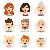 Vector set beautiful emoticons face of people character fear avatars