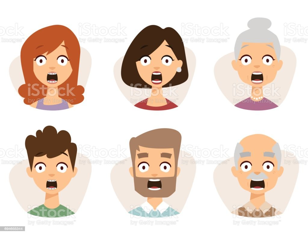 Vector Set Beautiful Emoticons Face Of People Fear Shock Surprise