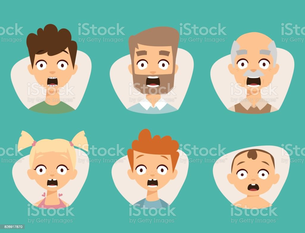 Vector set beautiful emoticons face of people fear shock surprise avatars characters illustration vector art illustration