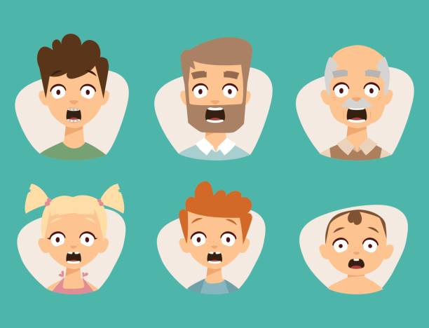 Vector set beautiful emoticons face of people fear shock surprise avatars characters illustration Vector set beautiful emoticons face of people fear shock surprise avatars. Set of cartoon human head person character different sexes sadness confused depression. shock stock illustrations