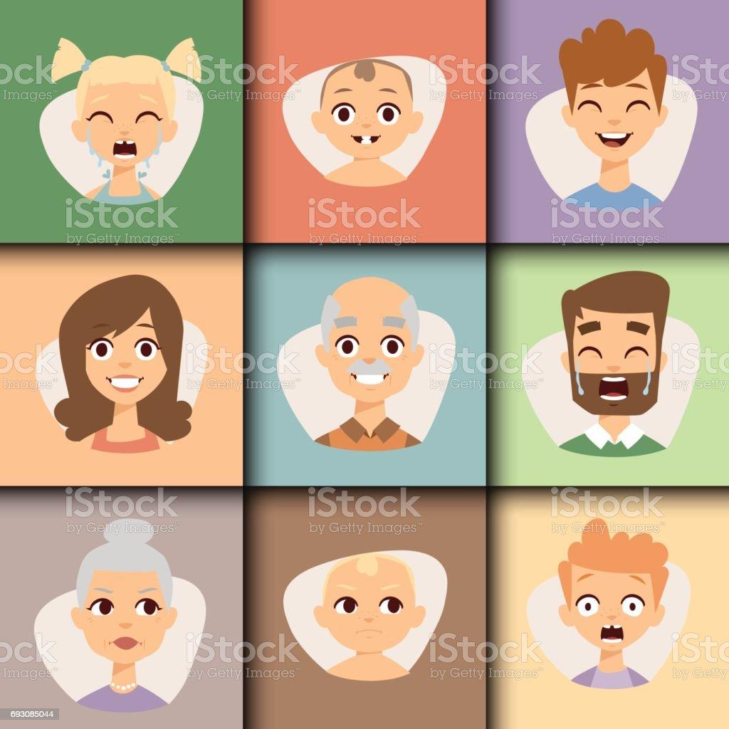ベクトル設定人アバター楽しいキャラクター イラストを笑顔の美しい顔文字顔 1人のベクターアート素材や画像を多数ご用意 Istock
