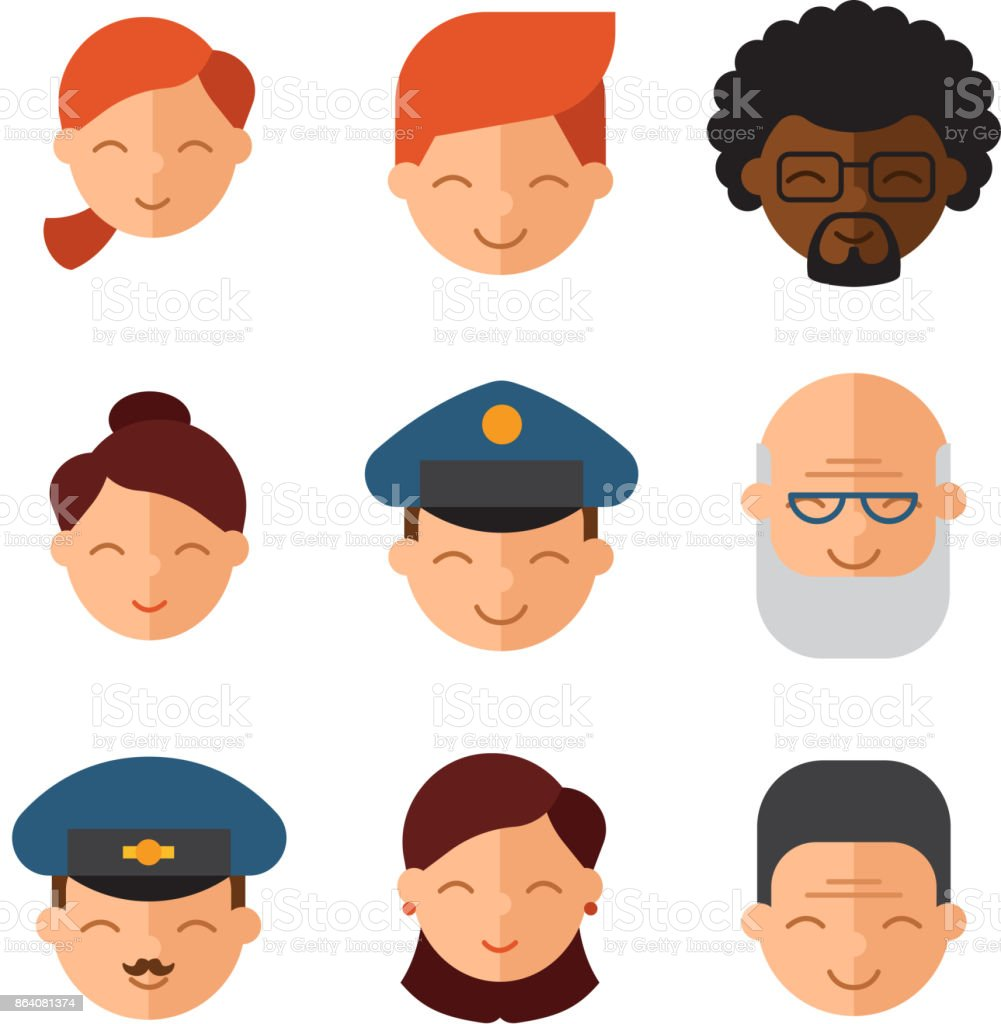 Vector set beautiful emoticons face of people smiling avatars happy characters illustration royalty-free vector set beautiful emoticons face of people smiling avatars happy characters illustration stock vector art & more images of adult