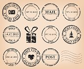 vector set - black grungy post stamps. Eps 8.