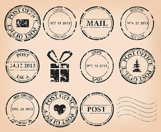 vector set - black grungy post stamps vector set - black grungy post stamps. Eps 8. postmark stock illustrations