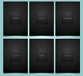 ベクトルは、高級製品の華麗な線形ジオメトリと花ダマスク テクスチャと黒いパッケージのテンプレートを設定します。シンボルのトレンディなデザイン。プレミアム スタイル パンフレット