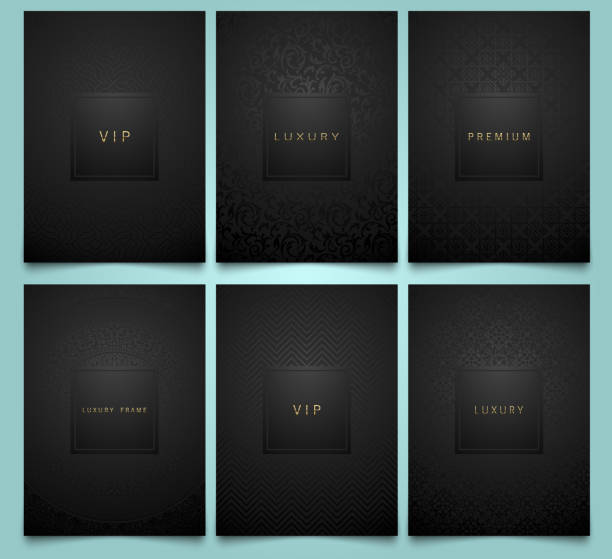 vector set black packaging templates with brilliant linear geometric and floral damask pattern texture for luxury product. trendy design for symbol. premium style brochure - чёрный цвет stock illustrations