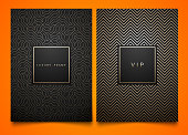 Vector set black packaging templates with different golden linear geometric pattern texture for luxury product. Trendy design for symbol. Square frame