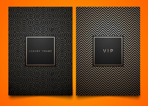 向量設置黑色包裝範本與不同的金色線性幾何圖案紋理的奢侈品時尚的符號設計方形框架向量圖形及更多側影圖片