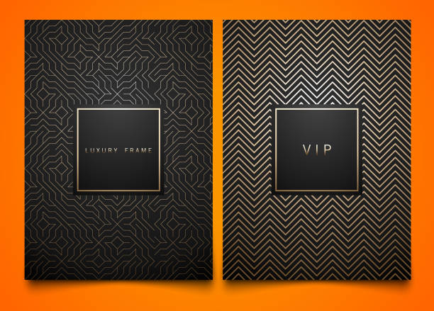 vector set black packaging templates with different golden linear geometric pattern texture for luxury product. trendy design for symbol. square frame - art deco stock illustrations, clip art, cartoons, & icons