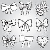 Vector set bows, hearts, cupcakes sketch contour pen black white
