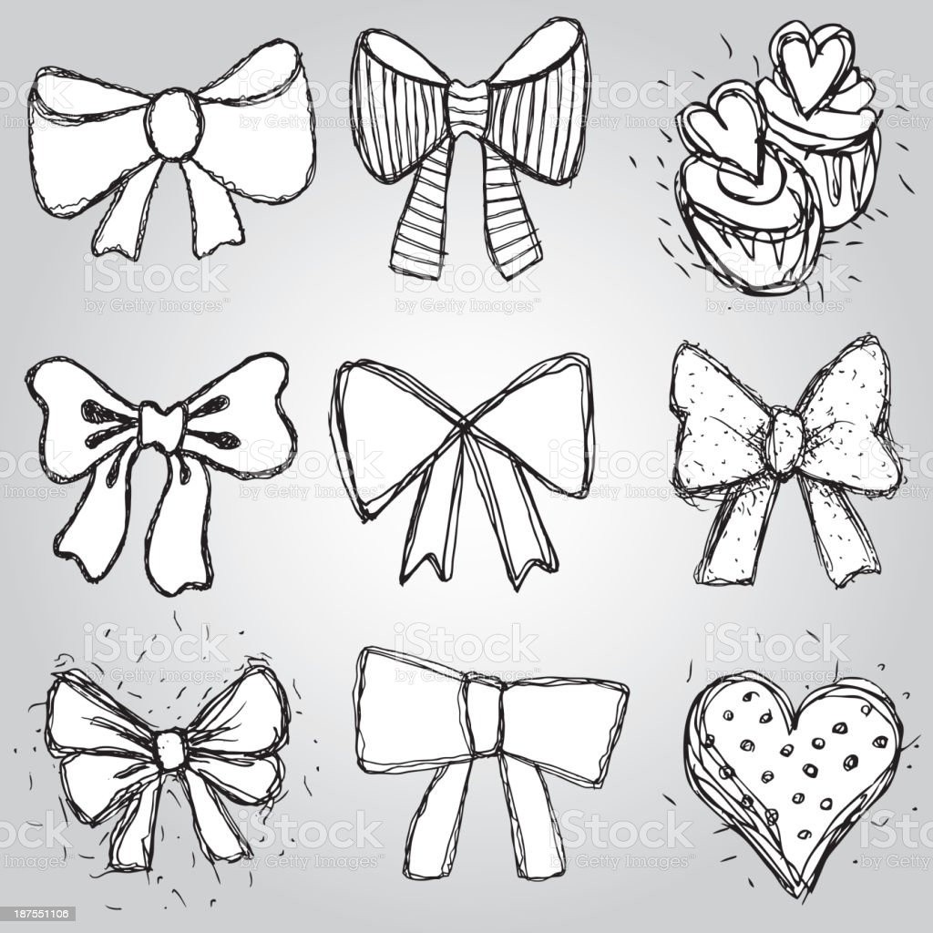 Vector set bows, hearts, cupcakes sketch contour pen black white vector art illustration