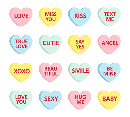 Vector set bundle of different color flat cartoon Valentine's candy with love text