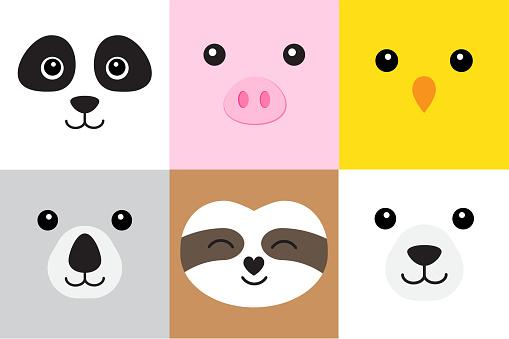 Vector set bundle of flat cartoon different animals faces