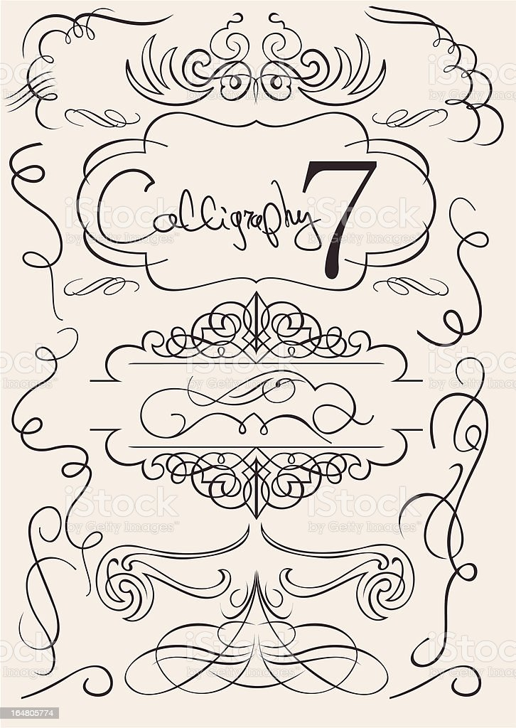 vector set: calligraphic design elements and page decoration royalty-free vector set calligraphic design elements and page decoration stock vector art & more images of calligraphy