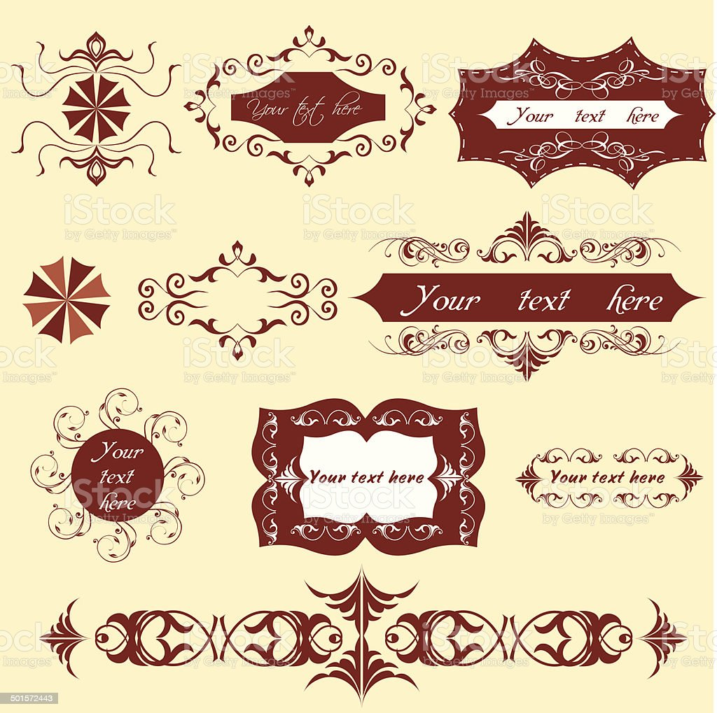 vector set calligraphic design elements and page decoration vector art illustration