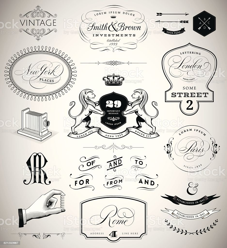 Vector Set: Calligraphic Design Elements, Page Decoration, Vintage Crests and vector art illustration