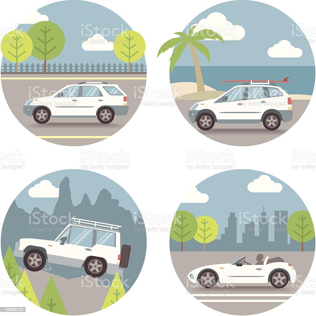 Vector Set, Car scenes vector art illustration