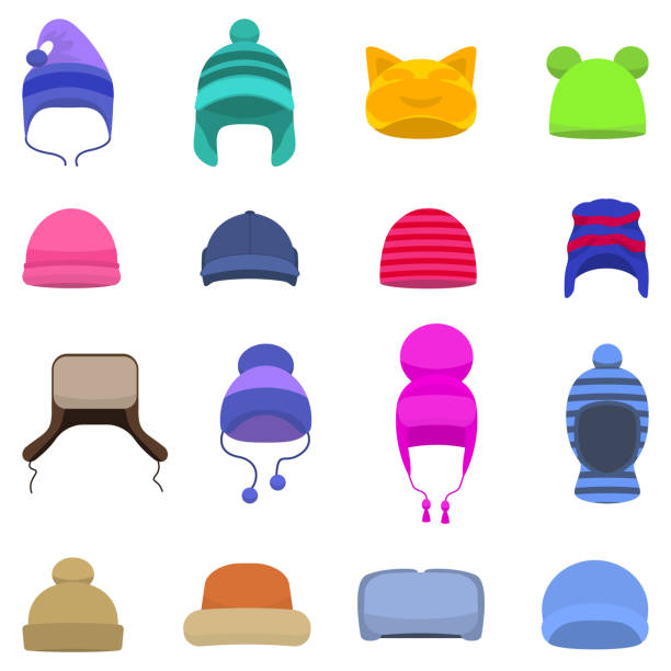 Vector set cartoon winter hats cap beanie Vector illustration set of cartoon winter hats. Isolated white background. Knitted head winter accessories. Flat style. Collection of caps, beanie. knit hat stock illustrations