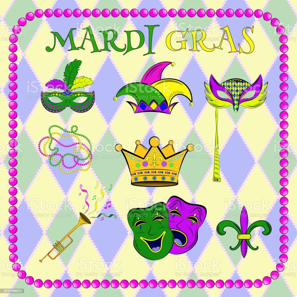 Vector Set Celebration Of Mardi Gras The Mask Of Joy And Sadness
