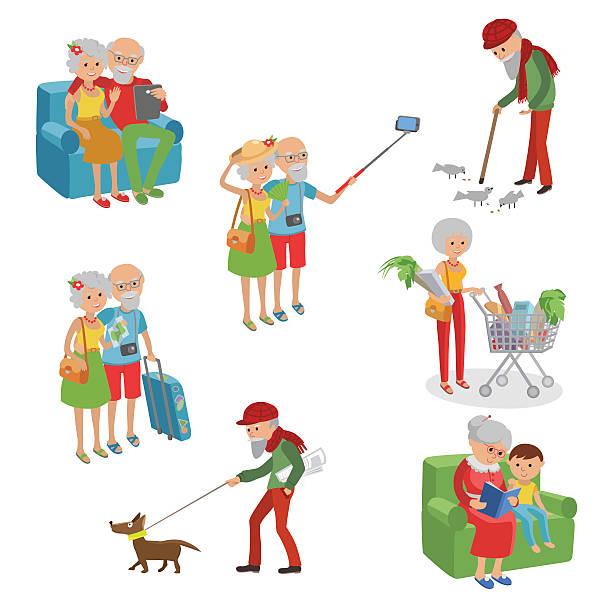 illustrazioni stock, clip art, cartoni animati e icone di tendenza di vector set characters. cartoon  elderly. grandmother grandfather different actions. - nonna e nipote camminare