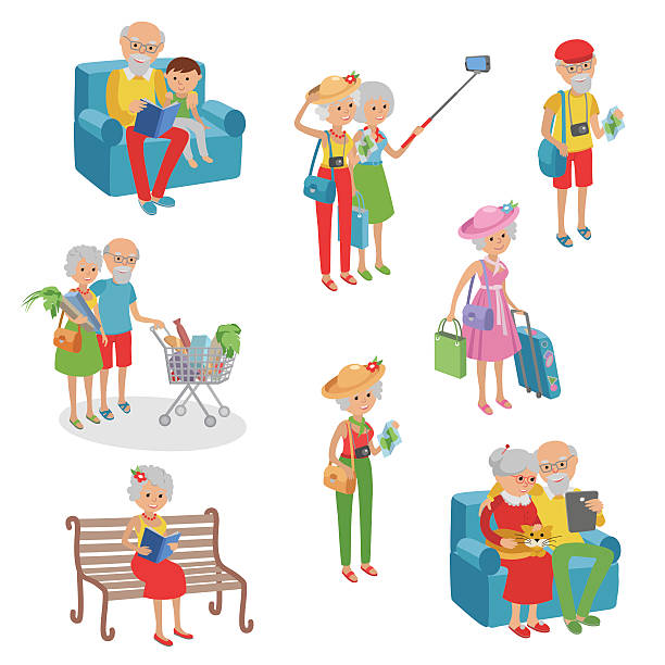 vector set characters flat style. cartoon  elderly. - old man computer silhouette stock illustrations, clip art, cartoons, & icons
