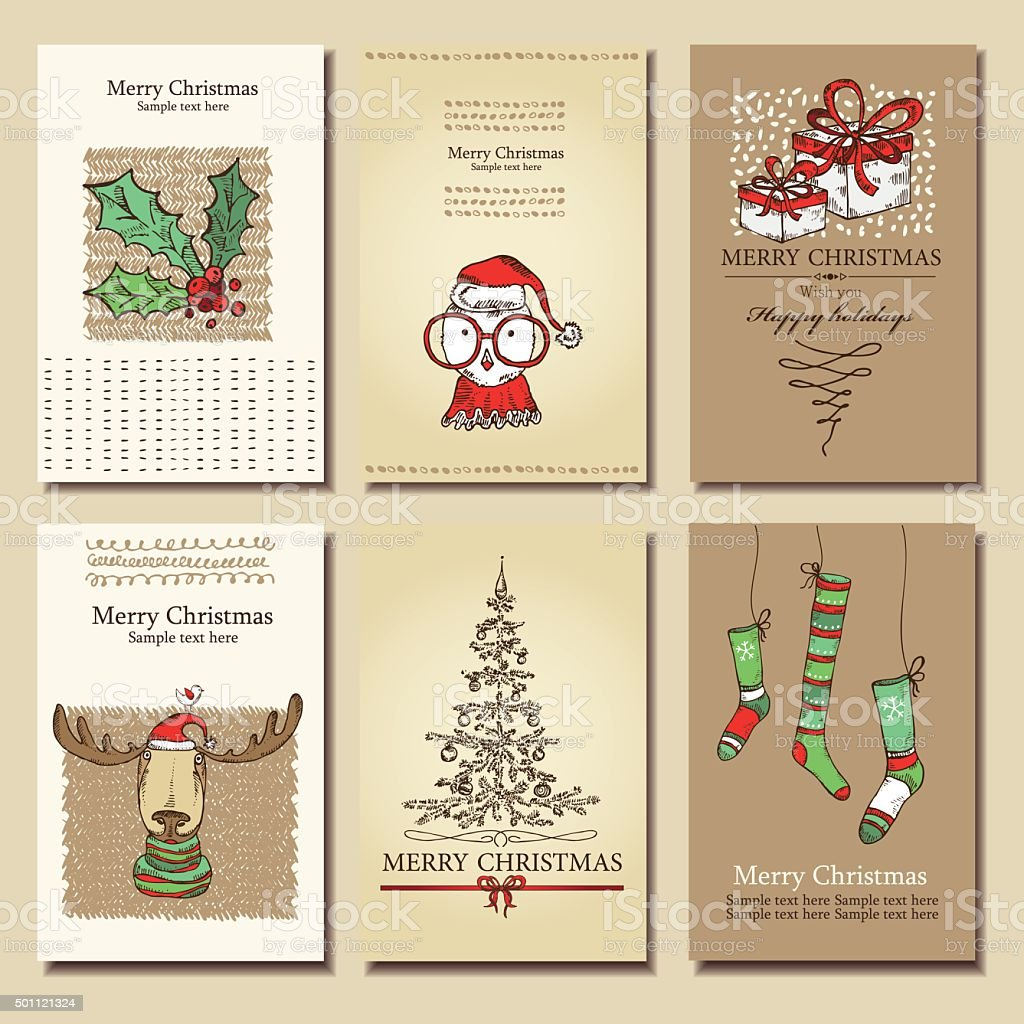 Weihnachten Bilder Bearbeiten.Vektorset Weihnachten Karten Bearbeiten Hand Drawn Stock Vektor Art