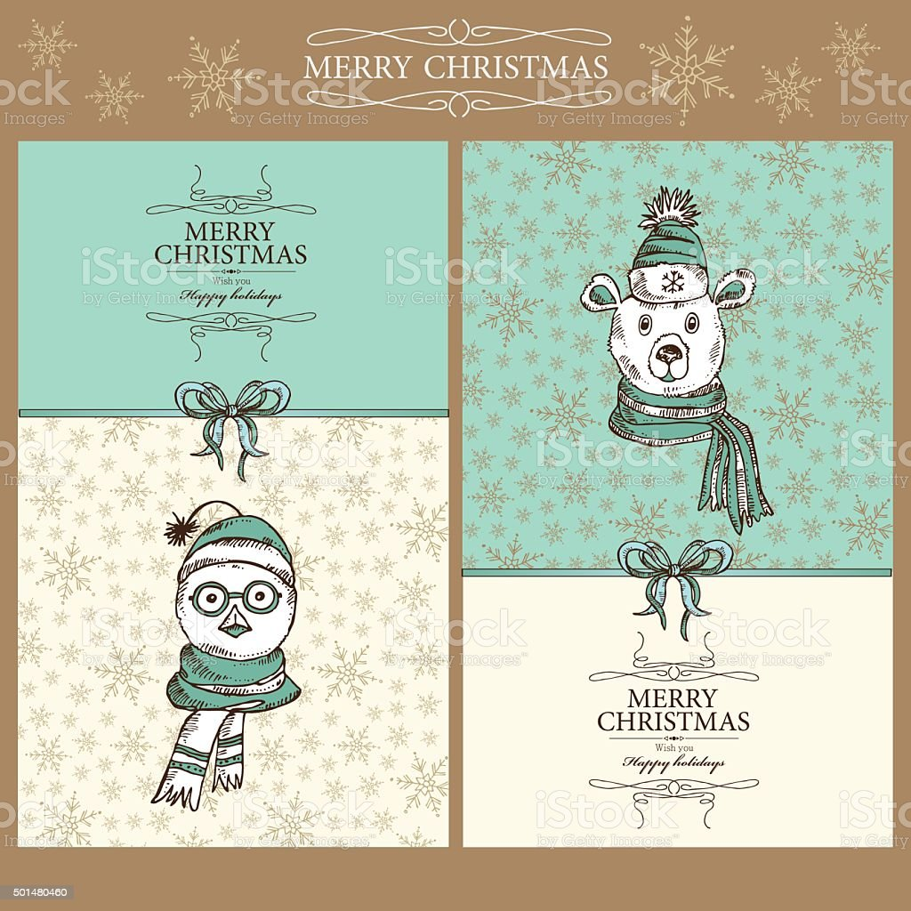 Vector Set Christmas Cards With Bear Hand Drawn Stock Vector Art