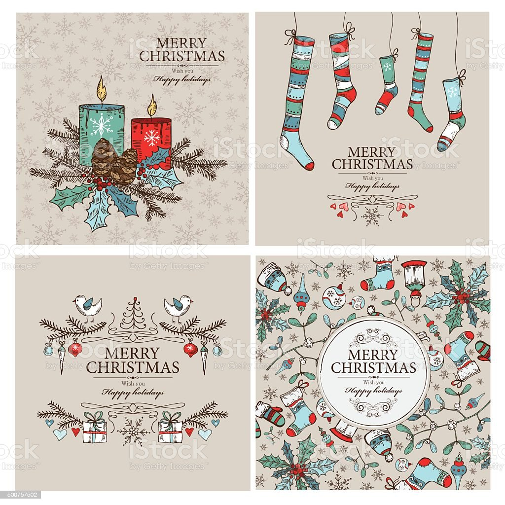 Vector set: Christmas cards with Christmas decorations.hand drawn vector art illustration