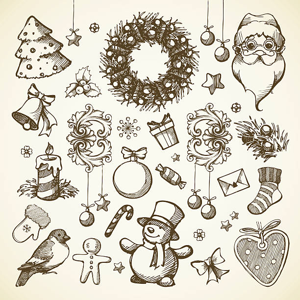 Vector set Christmas hand drawn illustrations Vector set Christmas hand drawn icons, design elements, objects. Doodle illustration. mistery stock illustrations