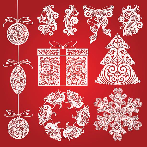 Vector set Christmas ornate illustrations, design elements, objects. Vector set Christmas ornate symbols, design elements, objects. Calligraphy illustration. Christmas decor elements mistery stock illustrations