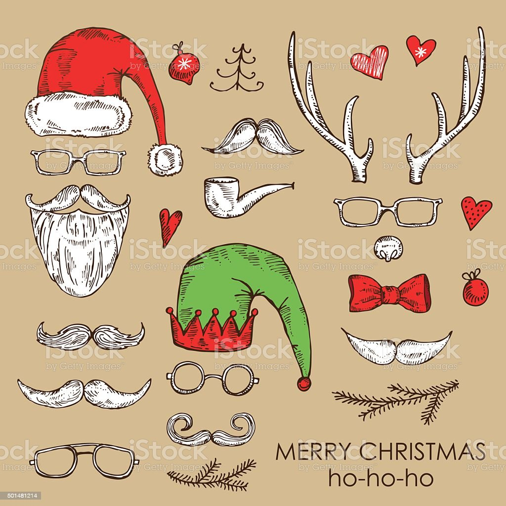 Photo Booth Weihnachten.Vektorset Weihnachten Photo Booth Und Scrapbooking Hand Drawn Stock