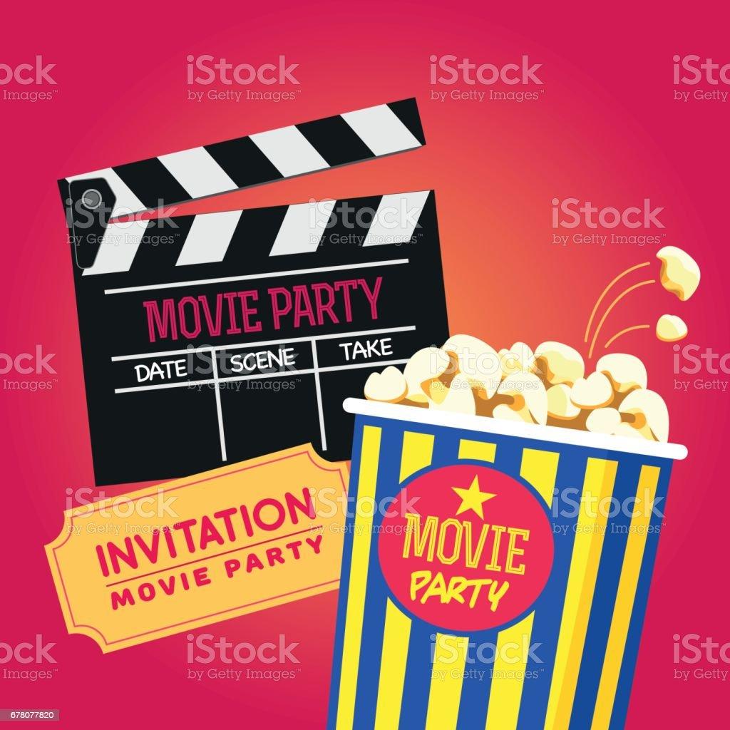 Vector Set Cinema Party Popcorn Cup Cinema Clap Design For An ...