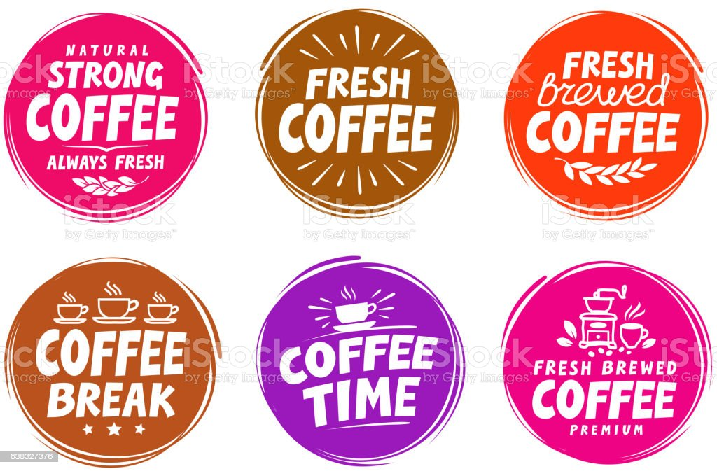 Vector set colorful labels for coffee, drink. Collection icons vector art illustration