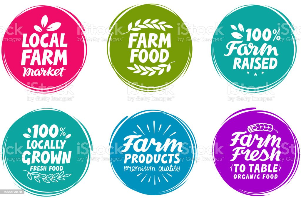 Vector set colorful labels for food, nutrition. Farm collection icons - ilustração de arte em vetor
