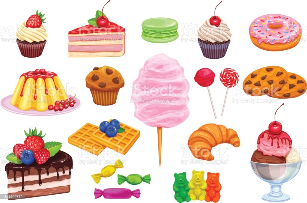 Vector set iconos de confitería y dulces. - ilustración de arte vectorial