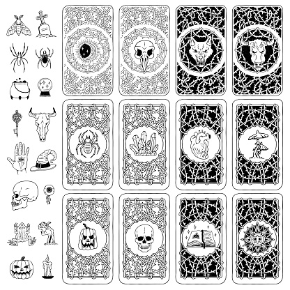 Vector set covers of playing or fortune telling cards of mystical, occult elements.